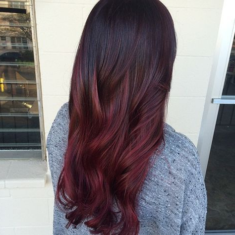 Ombrrrrreeee … | Maroon Hair, Burgundy Hair, Red Balayage Hair Throughout Burgundy Balayage On Dark Hairstyles (View 2 of 25)
