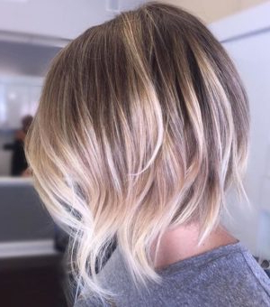 Picture Of Short Shaggy Bob Haircut With A Brown Base And Inside Balayage For Short Stacked Bob Hairstyles (View 4 of 25)