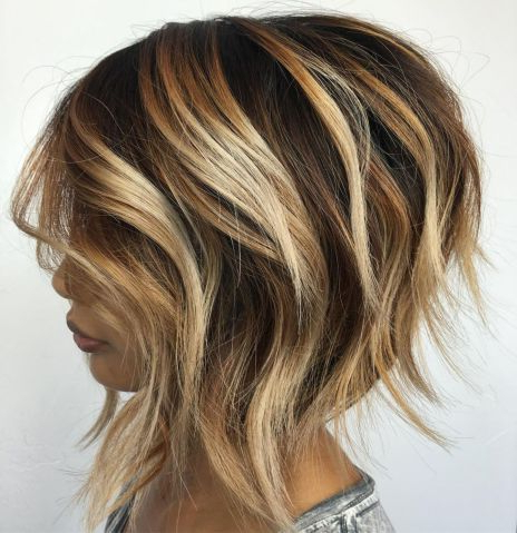 Pin On Updos For Shorter Hair Regarding Caramel Blonde Balayage On Inverted Lob Hairstyles (View 10 of 25)