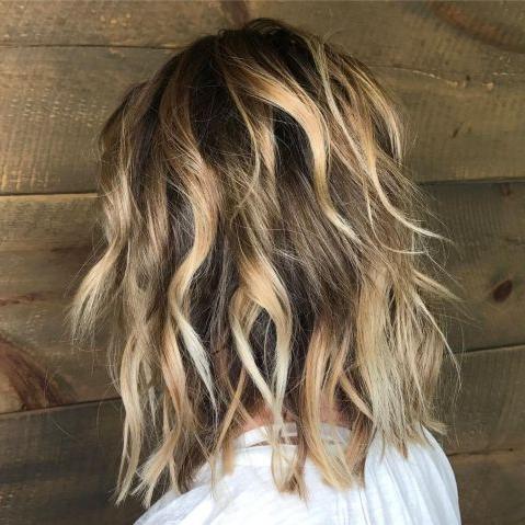 Razored Caramel Blonde Balayage Lob | Medium Shag Haircuts For Balayage Highlights For Long Bob Hairstyles (View 5 of 25)