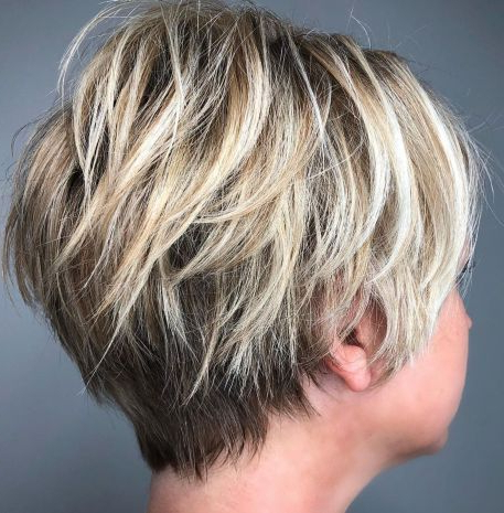 Razored Pixie With Blonde Balayage # Regarding Long Pixie Hairstyles With Dramatic Blonde Balayage (View 6 of 25)