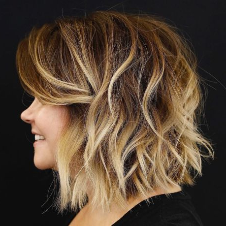 Shaggy Brown Bob With Bleached Highlights In 2020 | Wavy In Shaggy Bob Hairstyles With Face Framing Highlights (View 9 of 25)