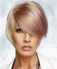 Short Straight And Purple Two Tone Hairstyle With Side With Regard To Half Bob Half Pixie Hairstyles With Cool Blonde Balayage (View 11 of 25)