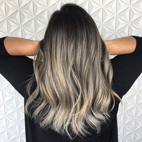 Silver Modern Balayage On @Dskjewelry   Black Hair Ombre Intended For Ash Blonde Balayage Ombre On Dark Hairstyles (View 4 of 25)