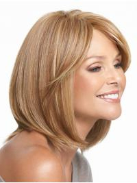 Straight Chin Length Blonde With Bangs Classy Synthetic With Regard To Chin Length Bangs And Face Framing Layers Hairstyles (View 5 of 25)