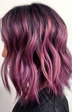 Super Hair Color Ideas For Brunettes Balayage Purple In Lavender Balayage For Short A Line Haircuts (View 17 of 25)