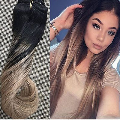 Thick Dip Dye Ombre Balayage Remy Clip In Human Hair In Ash Blonde Balayage Ombre On Dark Hairstyles (View 17 of 25)