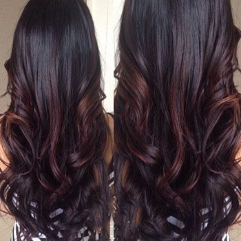 Violet Tinted Balayage | Long Dark Hair, Hair Styles Within Burgundy Balayage On Dark Hairstyles (View 23 of 25)