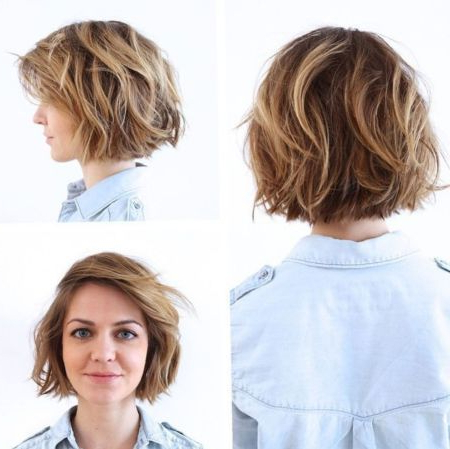 Wavy Messy Bob With Blonde Highlights | Short Shag In Shaggy Bob Hairstyles With Face Framing Highlights (View 15 of 25)