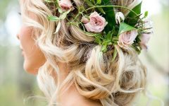 Undone Low Bun Bridal Hairstyles With Floral Headband