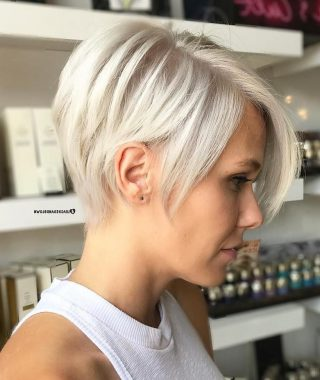 Side Parted White Blonde Pixie Bob Haircuts