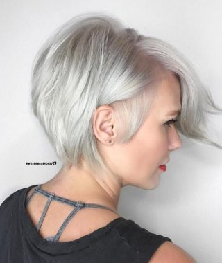 Silver Side-Parted Pixie Bob Haircuts