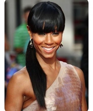 Weaved Polished Pony Hairstyles With Blunt Bangs