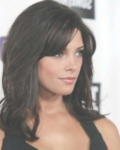 Black Medium Hairstyles With Bangs And Layers