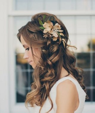 Curly Wedding Updos With Flower Barrette Ties