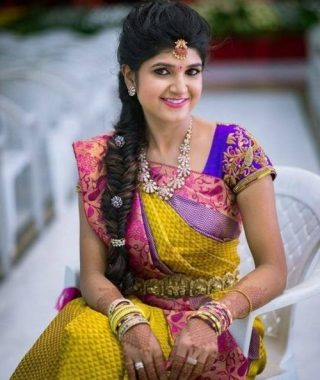 Indian Wedding Hairstyles For Long Hair On Saree