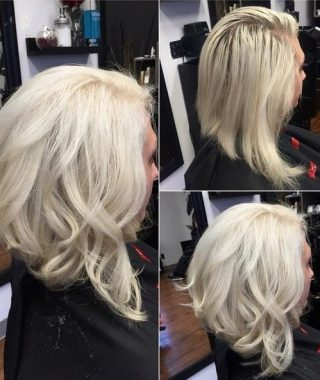 Angled Wavy Lob Blonde Hairstyles