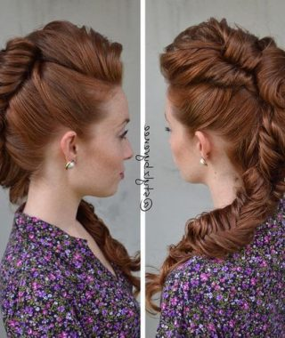 Messy Fishtail Faux Hawk Hairstyles