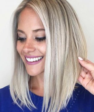 Blunt Cut White Gold Lob Blonde Hairstyles