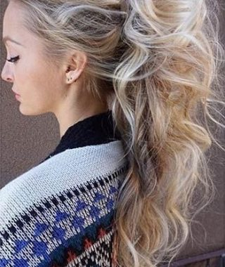 Messy Blonde Ponytails With Faux Pompadour