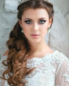 Side Curls Bridal Hairstyles With Tiara And Lace Veil