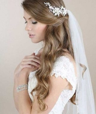 Half Up With Veil Wedding Hairstyles
