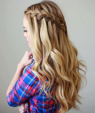 Cascading Curly Crown Braid Hairstyles
