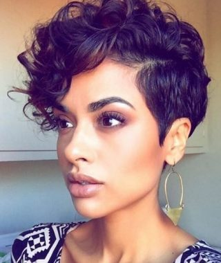Plum Brown Pixie Haircuts For Naturally Curly Hair
