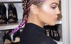 Top-Knot Ponytail Braids With Pink Extensions