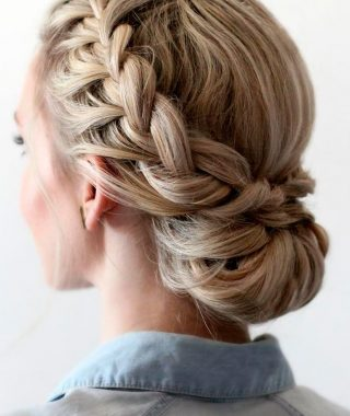 Bun And Three Side Braids Prom Updos
