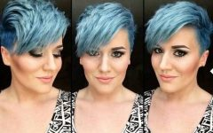 Funky Blue Pixie Hairstyles With Layered Bangs