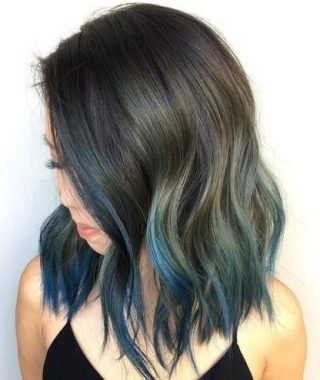 Blue Balayage For Black Choppy Bob Hairstyles
