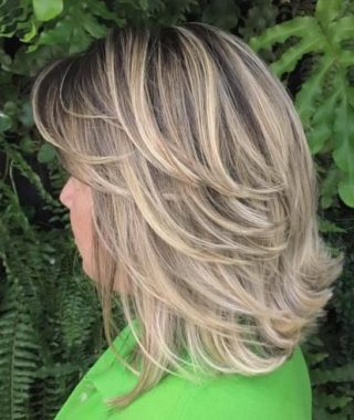 Flipped Lob Hairstyles With Swoopy Back-Swept Layers
