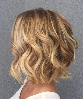 Curly Highlighted Blonde Bob Hairstyles