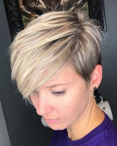 Side-Parted Blonde Balayage Pixie Haircuts