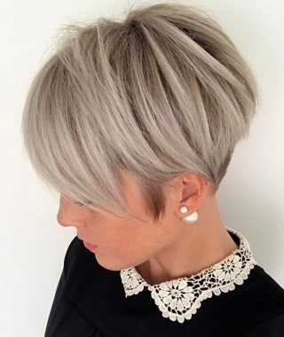 Ash Blonde Pixie Hairstyles With Nape Undercut