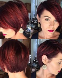 Reddish Brown Layered Pixie Bob Haircuts