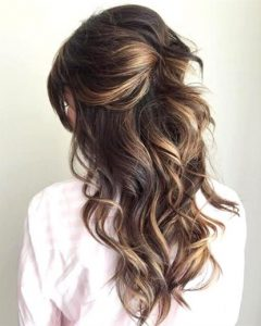 Pinned Back Tousled Waves Bridal Hairstyles