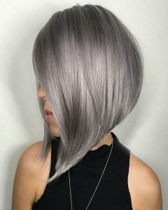 Silver Bob Hairstyles With Hint Of Purple