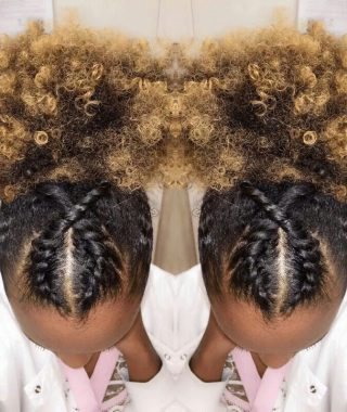 Crossed Twists And Afro Puff Pony