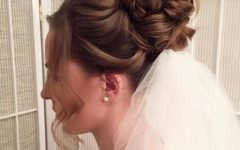 Curly Bridal Bun Hairstyles With Veil