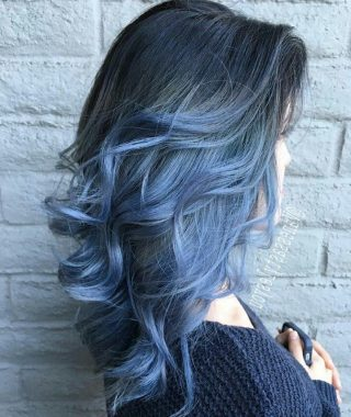 Black And Denim Blue Waves Hairstyles