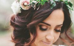 Flower Tiara With Short Wavy Hair For Brides