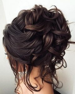 Subtle Curls And Bun Hairstyles For Wedding