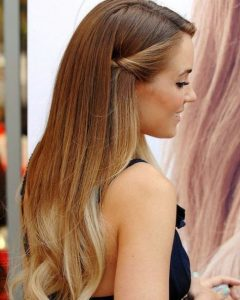 Tied Back Ombre Curls Bridal Hairstyles