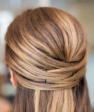 Crisscrossed Half Up Wedding Hairstyles