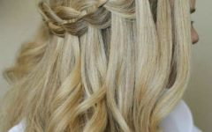 Diagonal Waterfall Braid In Half Up Bridal Hairstyles