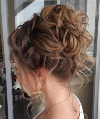 Elegant Messy Updo Hairstyles On Curly Hair