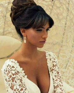 Updo Hairstyles For Long Hair With Bangs