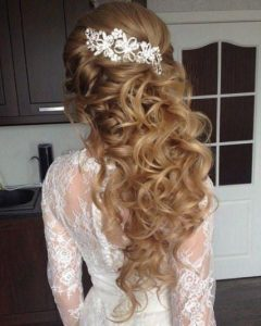Half Up Wedding Hairstyles With Jeweled Clip